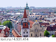 Купить «Панорама Мюнхена. Старая ратуша и церковь Святого Духа», фото № 4931414, снято 28 июля 2013 г. (c) Илюхина Наталья / Фотобанк Лори