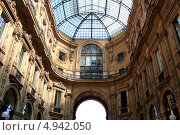 Купить «Галерея торгового центра Витторио Иммануила II в Милане, Италия. Фрагмент», эксклюзивное фото № 4942050, снято 11 июля 2013 г. (c) Яна Королёва / Фотобанк Лори