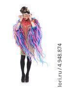 Купить «Актер травести в гламурной женской одежде с пестрыми лентами», фото № 4948874, снято 11 августа 2013 г. (c) Discovod / Фотобанк Лори