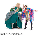 Купить «Два актера травести в женских костюмах», фото № 4948902, снято 11 августа 2013 г. (c) Discovod / Фотобанк Лори