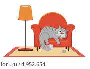 Купить «Грустный серый кот лежит на кресле», иллюстрация № 4952654 (c) Бутинова Елена / Фотобанк Лори