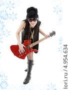 Купить «Неформальная юная девушка с электро гитарой», фото № 4954634, снято 12 апреля 2008 г. (c) Syda Productions / Фотобанк Лори