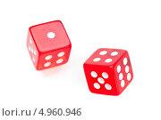 Купить «Два красных игральных кубика, с единицей и шестеркой сверху», фото № 4960946, снято 6 марта 2012 г. (c) Wavebreak Media / Фотобанк Лори