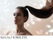 """Купить «Красивая женщина с длинными волосами, собранные в """"конский хвост""""», фото № 4964310, снято 17 июня 2013 г. (c) Константин Юганов / Фотобанк Лори"""