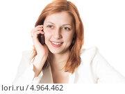 Зеленоглазая девушка говорит по мобильному телефону. Стоковое фото, фотограф oleksandr gurin / Фотобанк Лори