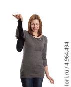 Молодая женщина держит носок. Стоковое фото, фотограф oleksandr gurin / Фотобанк Лори