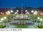 Купить «Ярославль. Вечерний вид на фонтаны на стрелке реки Волги», эксклюзивное фото № 4966870, снято 31 мая 2013 г. (c) Литвяк Игорь / Фотобанк Лори