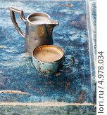 Купить «Кофе на синем фоне», фото № 4978034, снято 14 апреля 2013 г. (c) Лисовская Наталья / Фотобанк Лори