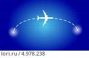 Самолет, летящий из одного пункта в другой. Стоковая иллюстрация, иллюстратор Багова Маргарита / Фотобанк Лори