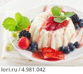 Десерт со свежими ягодами и мятой на тарелке. Стоковое фото, фотограф Tatjana Baibakova / Фотобанк Лори