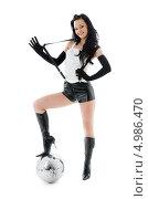 Купить «Девушка в шортах с шаром диско», фото № 4986470, снято 5 апреля 2008 г. (c) Syda Productions / Фотобанк Лори