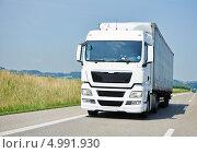 Купить «Белая фура едет по асфальтированной дороге», фото № 4991930, снято 8 июля 2013 г. (c) Дмитрий Калиновский / Фотобанк Лори