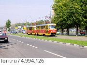 Купить «Трамвай на Ломоносовском проспекте», эксклюзивное фото № 4994126, снято 22 августа 2013 г. (c) Илюхина Наталья / Фотобанк Лори