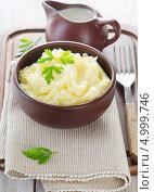 Купить «Картофельное пюре и молочник с молоком», фото № 4999746, снято 28 августа 2013 г. (c) Tatjana Baibakova / Фотобанк Лори