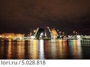 Купить «Ночной Петербург, разведённый мост на Неве», фото № 5028818, снято 11 августа 2013 г. (c) Михаил Коханчиков / Фотобанк Лори