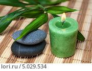 Два плоских камня, горящая свеча и листья бамбука. Стоковое фото, фотограф Наталья Алексахина / Фотобанк Лори