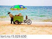 Купить «Торговец напитками на пляже Вьетнама с обезьянкой», фото № 5029630, снято 24 марта 2012 г. (c) Татьяна Назмутдинова / Фотобанк Лори