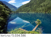 Озеро в национальном парке Цзючжайгоу («Долина девяти деревень»), Сычуань, Китай, фото № 5034586, снято 28 июня 2013 г. (c) GrayFox / Фотобанк Лори