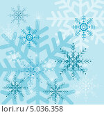 Голубой фон со снежинками. Стоковая иллюстрация, иллюстратор Александра Шкиндерова / Фотобанк Лори