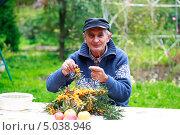 Купить «Пожилой мужчина с ягодами облепихи на даче», эксклюзивное фото № 5038946, снято 9 сентября 2013 г. (c) Яна Королёва / Фотобанк Лори