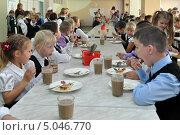 Купить «Обед в школьной столовой», фото № 5046770, снято 11 сентября 2013 г. (c) Вячеслав Палес / Фотобанк Лори