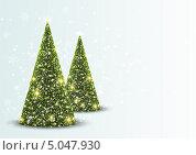 Рождественская открытка с елками. Стоковая иллюстрация, иллюстратор Евгения Малахова / Фотобанк Лори