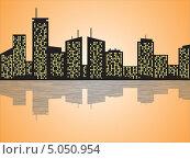 Городской пейзаж, ночные многоэтажки отражаются в воде. Стоковая иллюстрация, иллюстратор Алекс Секрет / Фотобанк Лори