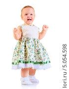 Купить «Годовалая девочка в светлом платье в полный рост на белом фоне», фото № 5054598, снято 26 октября 2012 г. (c) Андрей Армягов / Фотобанк Лори