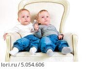Купить «Две годовалых малышки на кресле в студии», фото № 5054606, снято 26 октября 2012 г. (c) Андрей Армягов / Фотобанк Лори