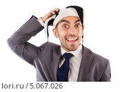 Улыбающийся бизнесмен в шутовском колпаке. Стоковое фото, фотограф Elnur / Фотобанк Лори