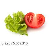Купить «Половина спелого помидора и листья зеленого салата на белом фоне», фото № 5069310, снято 22 августа 2011 г. (c) Natalja Stotika / Фотобанк Лори