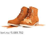 Демисезонные коричневые замшевые ботинки. Стоковое фото, фотограф Трофимова Мария / Фотобанк Лори