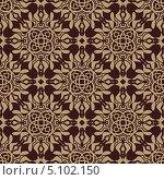 Купить «Бесшовный фон с коричневым растительным орнаментом», иллюстрация № 5102150 (c) Silanti / Фотобанк Лори