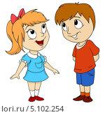 Купить «Рисованные мальчик и девочка на белом фоне», иллюстрация № 5102254 (c) Алексей Зайцев / Фотобанк Лори