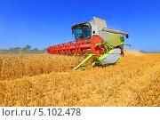 Купить «Уборка зерновых комбайном», фото № 5102478, снято 7 августа 2013 г. (c) Швадчак Василий / Фотобанк Лори