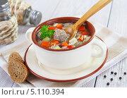 Купить «Суп с фрикадельками и рисом», фото № 5110394, снято 2 октября 2013 г. (c) Надежда Мишкова / Фотобанк Лори