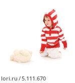 Купить «Маленькая девочка в белых брючках и полосатой кофте», фото № 5111670, снято 20 июня 2009 г. (c) Syda Productions / Фотобанк Лори