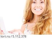 Купить «Красивая деловая девушка работает за ноутбуком», фото № 5112378, снято 13 июня 2009 г. (c) Syda Productions / Фотобанк Лори
