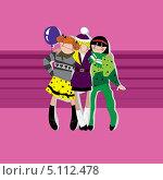 Три девочки. Стоковая иллюстрация, иллюстратор Марина Дычек / Фотобанк Лори