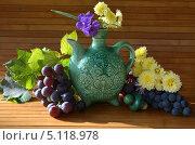 Керамический декоративный чайник и виноград. Стоковое фото, фотограф Юлия Москаленко / Фотобанк Лори