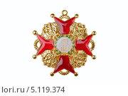 Купить «Знак к ордену Святого Станислава», фото № 5119374, снято 29 апреля 2013 г. (c) Угоренков Александр / Фотобанк Лори