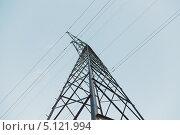 Купить «Опора линии электропередачи, вид снизу», эксклюзивное фото № 5121994, снято 1 октября 2013 г. (c) Иван Карпов / Фотобанк Лори