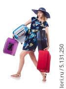 Девушка несет много чемоданов. Стоковое фото, фотограф Elnur / Фотобанк Лори