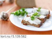 Купить «Жареные тосты с салом и чесноком», фото № 5139582, снято 7 октября 2013 г. (c) Peredniankina / Фотобанк Лори