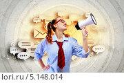 Купить «девушка говорит в мегафон на фоне с диалоговыми пузырями», фото № 5148014, снято 15 марта 2013 г. (c) Sergey Nivens / Фотобанк Лори