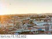 Закат над городом. Лиссабон. Португалия (2013 год). Стоковое фото, фотограф E. O. / Фотобанк Лори