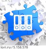 Купить «Сложенный из синих кусочков фрагмент пазла», иллюстрация № 5158578 (c) Илья Урядников / Фотобанк Лори