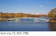 Купить «Металлический арочный мостик через водоем. Царицыно. Москва», фото № 5161798, снято 13 октября 2013 г. (c) Андрей Андронов / Фотобанк Лори