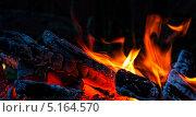 Купить «Огонь костра на черном фоне», фото № 5164570, снято 30 августа 2013 г. (c) Татьяна Козырева / Фотобанк Лори