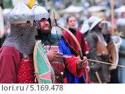 Купить «Воины монгольской орды в боевом облачении», фото № 5169478, снято 22 июня 2013 г. (c) Сергей Громогласов / Фотобанк Лори